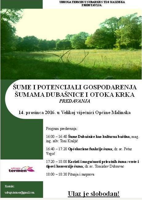 Predavanje: Šume i potencijali gospodarenja šumama Dubašnice i otoka Krka